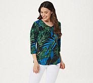 Susan Graver Printed Liquid Knit V-neck 3/4 Sleeve Top - A225581