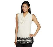 Susan Graver Solid Liquid Knit Sleeveless Drape Neck Top - A234981