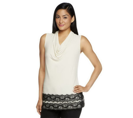 Susan Graver Solid Liquid Knit Sleeveless Drape Neck Top