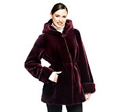 Dennis Basso Faux Fur Zip Front Coat with Hood - A238381
