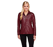 Bob Mackies Lurex Animal Patterned Zip Front Jacket - A258781