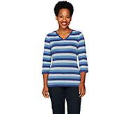 Denim & Co. Heavenly Jersey Striped V-neck Top - A259181