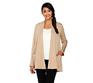 Susan Graver Brush Back Knit Open Front Cardigan with Front Pockets - A260481