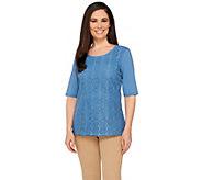 Liz Claiborne New York Lace Front Scoop Neck Tee - A262181