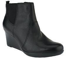 As Is Clarks Suede or Leather Wedge Boots- Crystal Quartz