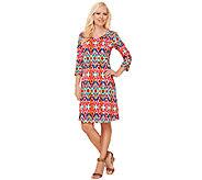 Liz Claiborne New York Regular 3/4 Sleeve Printed Dress - A266181