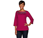 Bob Mackies 3/4 Sleeve Embellished Neckline Knit Top - A268381