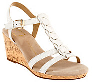As Is Liz Claiborne New York Leather Wedges with Braid Design - A271381