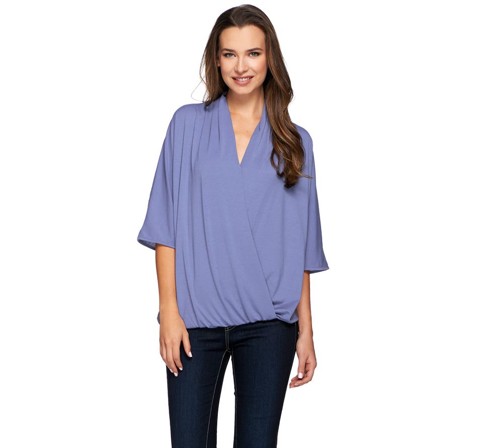 H by Halston Draped Wrap Front Knit Elbow Sleeve Top
