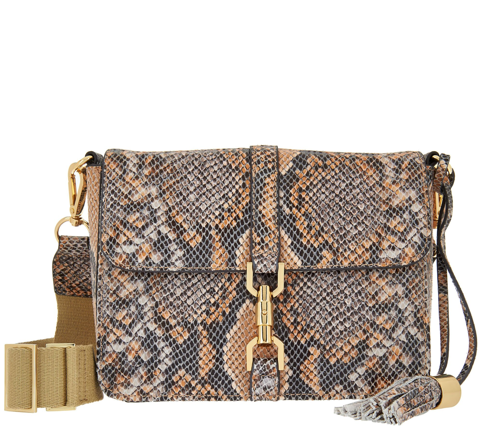 G.I.L.I. Leather Sporty Crossbody with Canvas Strap