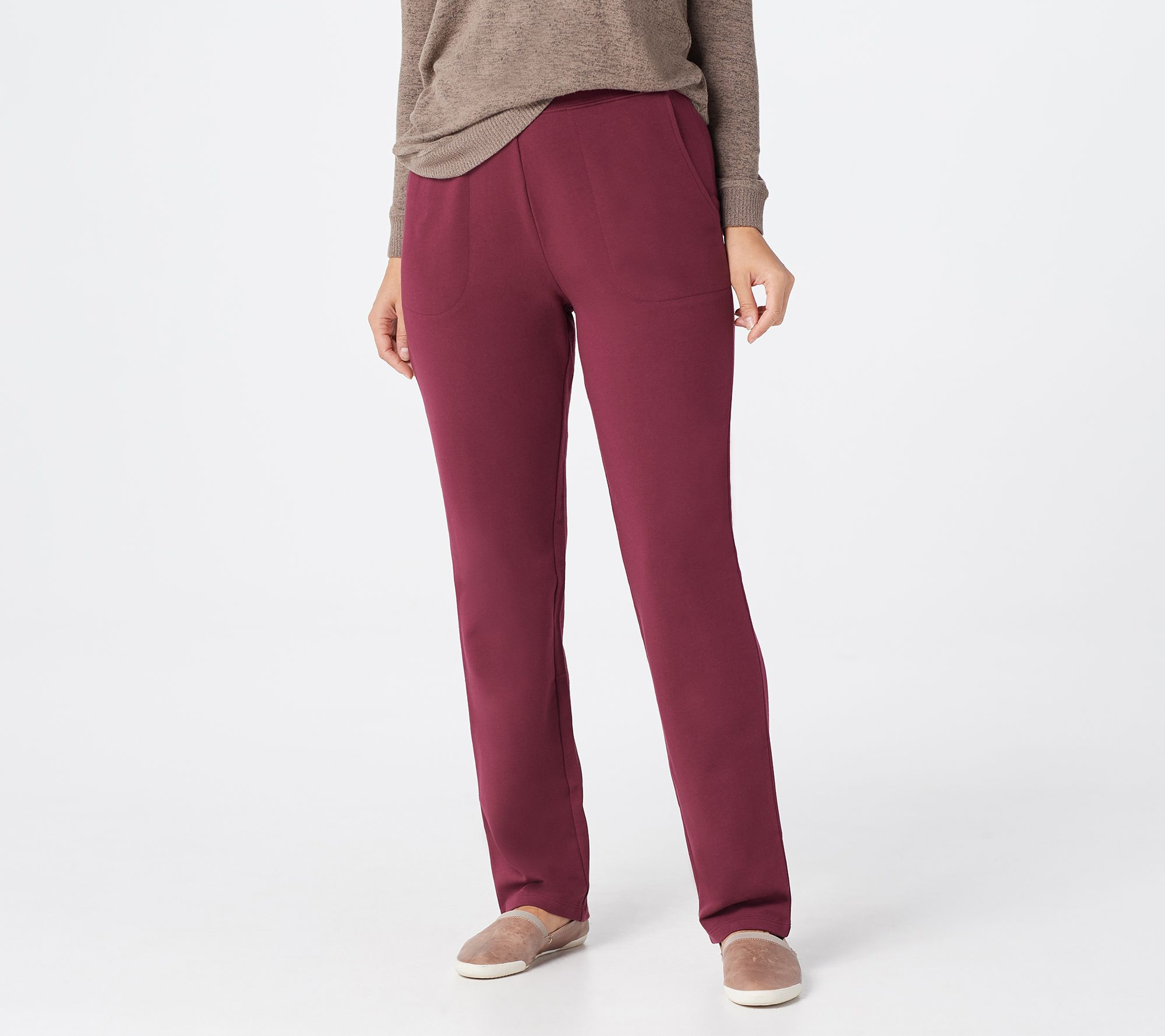 Denim Amp Co Active French Terry Pull On Pants Qvc Com