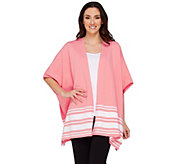 Denim & Co. Active Knit Poncho with Stripe Detail - A275281
