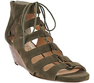 As Is Sole Society Suede Lace-Up Wedge Sandals - Freyaa - A277681