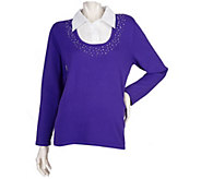 As Is Quacker Factory Rhinestone Trimmed Duet Sweater - A278781