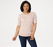 Denim & Co. Active Striped Scoop Neck Elbow Sleeve Top - A278981