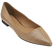 As Is H by Halston Metallic Embossed Python Flats - Lucille - A279281