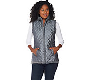 Denim & Co. Reversible Zip Front Textured Faux Fur & Quilted Vest - A282681