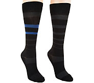 Catawba Set of 2 Foot Comfort Compression Stripe Socks - A284681