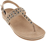 As Is Marc Fisher Suede T-strap Sandals w/ Stud Detail - Sagria - A286481
