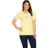 Quacker Factory Spring Sparkle Embroidered Short Sleeve T-shirt - A287081