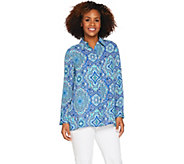 Joan Rivers Moroccan Print Silky Blouse w/ Long Sleeves - A289081