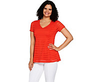 Isaac Mizrahi Live! Textured Stripe V-neck Short Sleeve Peplum Top - A292081