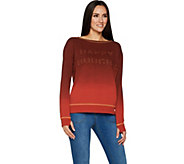 Peace Love World Dip Dye Knit Top with Affirmation - A296581