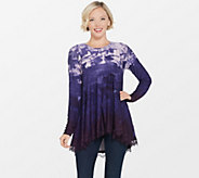 LOGO by Lori Goldstein Printed Swing Top with Lace at Hem - A297081