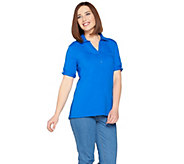 As Is Denim & Co. Essentials Short Sleeve Roll Tab Polo Top - A298781