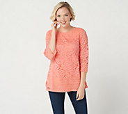 Isaac Mizrahi Live! 3/4 Sleeve Scoop Neck Mixed Lace Tunic - A300881