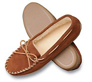 Minnetonka Mens Suede Pile Lined Hardsole Slippers - A139082