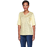 Quacker Factory Sequin Front Elbow Sleeve V-neck T-shirt - A213982
