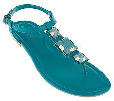 Tignanello T-strap Thong Sandals with Square Ornament