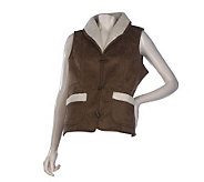 Susan Graver Faux Shearling Toggle Button Vest with Shawl Collar - A217182
