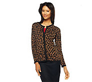 Dennis Basso Leopard Print Crew Neck Cardigan with Solid Trim - A219382