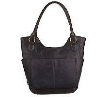 """As Is"""" Tignanello Glazed Vintage Leather North/ South Shopper"""