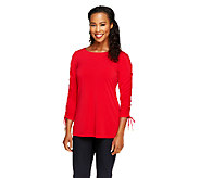 Susan Graver Liquid Knit Bateau Neck Top with Ruched Sleeves - A234982