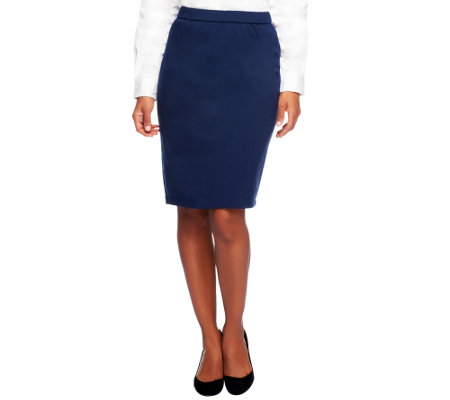 Joan Rivers Ponte Knit Pull-on Slim Skirt