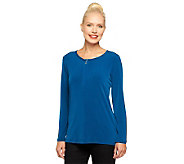 Susan Graver Liquid Knit Half Zip Top with Long Sleeves - A237682