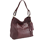 Isaac Mizrahi Live! Bridgehampton Croco Embossed Leather Hobo - A238282