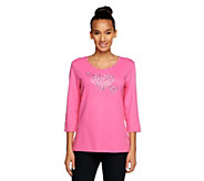 Quacker Factory Sparkle Triple Heart 3/4 Sleeve T-shirt - A240882