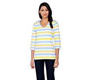 Denim & Co. Perfect Jersey Striped Top with Shoulder Detail - A251382