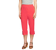 Denim & Co. How Timeless Petite Capri Pants with Tab Detail - A252482