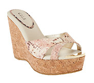G.I.L.I. Patent Leather Criss-cross Cork Wedges - Roma - A254582
