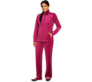 Denim & Co. Active Petite Velour Jacket & Pant Set with Quilting Detail - A257282
