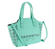 As Is B. Makowsky Perforated Saffiano Mini Leather Tote - A258182