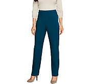Susan Graver Chelsea Stretch Zip Front Pants w/Side Seam Detail -Regular - A259582