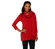 Susan Graver Plush Knit 3/4 Sleeve Tunic Sweater w/Fringed Scarf - A260482