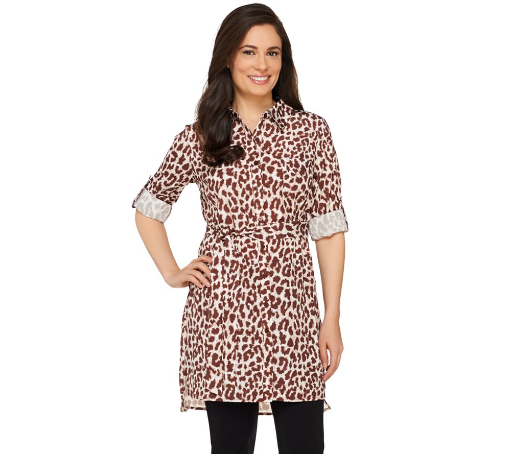 Dennis Basso Animal Print Button Down Woven Tunic with Belt