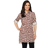 Dennis Basso Animal Print Button Down Woven Tunic with Tie Belt - A263182